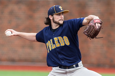 Toledo Rockets pitcher Cameron Palmer pitches against the Cincinnati Bearcats at Marge Schott Stadium