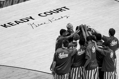 The Indiana Hoosiers huddle before their game against Purdue at Mackey Arena