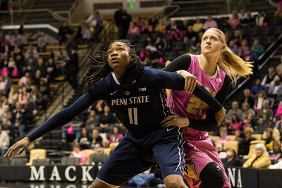 Alex Harris and Bree Horrocks fight for position during the Purdue 54-50 loss to Penn State