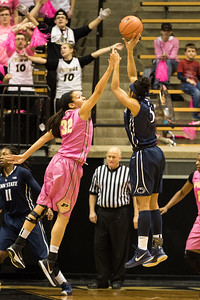 Whitney Bays defends Sierra Moore during the Purdue 54-50 loss to Penn State