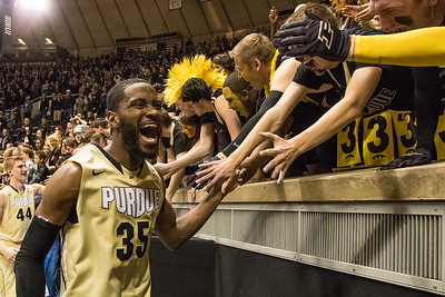 Rapheal Davis celebrates with the Paint Crew after the Boilers 83-67 win over the Hoosiers.