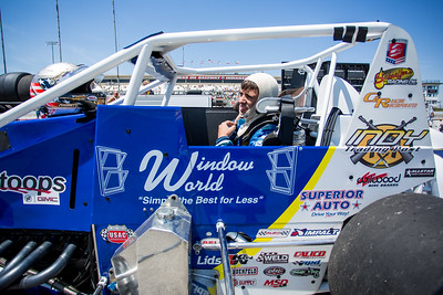 Jarett Andretti prepares to race the Day Before the 500 race at Lucas Oil Raceway in Speedway, Indiana on May 23, 2015.
