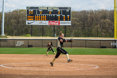 Lilly Fecho delivers the final pitch of her no-hitter on April 29, 2015