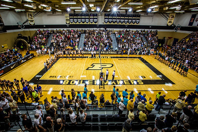 Belin Court at Holloway Gymnasium during the national anthem for the Mortar Board Premier on August 29, 2015
