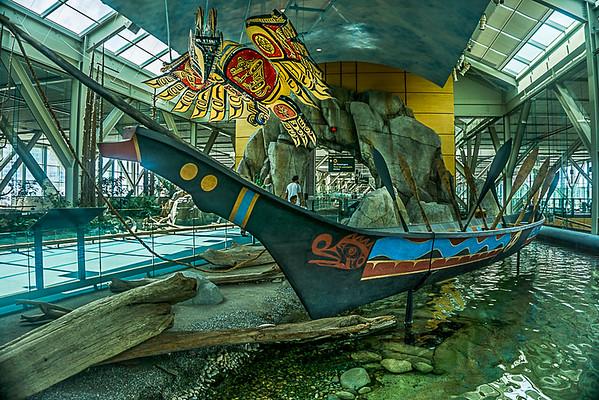 YVR First Nations Art - War Canoe & Hetux