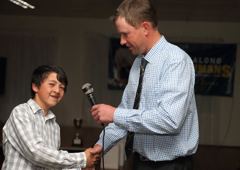 Ball-Boy Josh Sykes with out-going Chairman Michael Brayshaw, presentation night 2015.