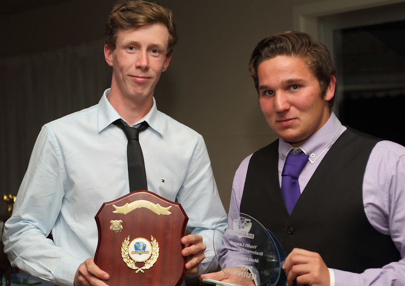 """Youth League 2015 """"Most Improved"""" Pat Quinn with Travis Pigram."""