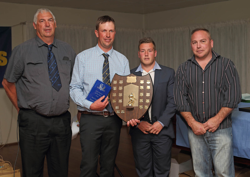 """Leon Arabin, Michael Brayshaw, Chris Rawlinson and Tony Worthy after presenting Michael with the 2015 """"Club Person of the Year""""."""