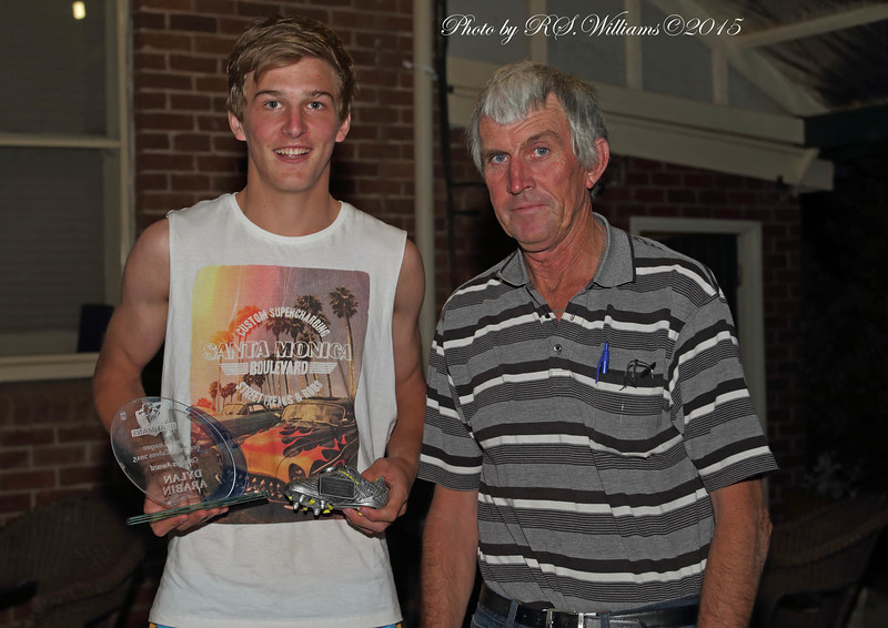 Brahmans U18's Captain Dylan Arabin with most points scored trophy and Assistant Coach Peter Reagan,
