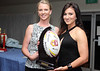 Coach of the Jersey Girls Sam Longmore with Bron Pollack, leading point scorer, player's player and best and fairest for 2015.