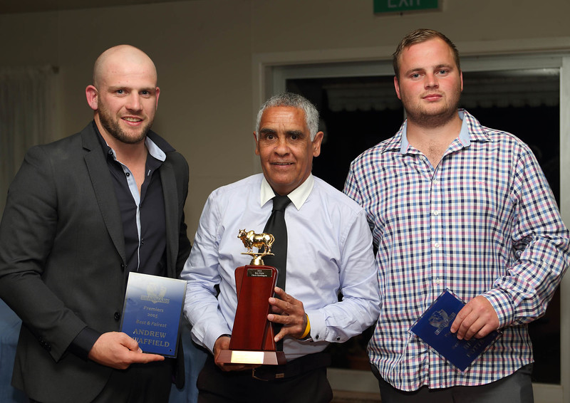 """2015 """"Joint Best and Fairest"""" Andrew Swaffield and Ben Potts with Cookie Chatfield."""