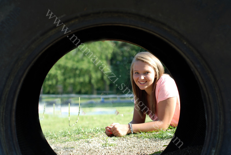 Looking through a tire at the park