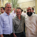 Mayor Greg Fischer, Ghislain D\'Humieres and Father David Sanchez.