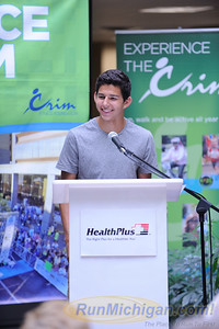 Recent Grand Blanc High School graduate and multiple time Michigan and national track and cross country champion Grant Fisher talks at the 2015 HealthPlus Crim Festival of Races Pre-Race Press Event on August 19.