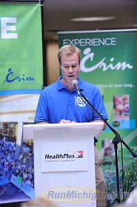 HealthPlus Crim Festival of Races Race Director Andrew Younger speaks at the 2015 Pre-Race Press Event on August 19.