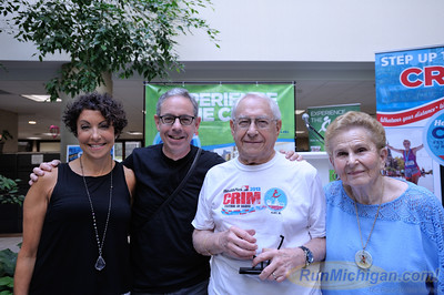 Long-time Crim runner Harry Binder (second from right) poses with family members at the 2015 HealthPlus Crim Festival of Races Pre-Race Press Event on August 19.