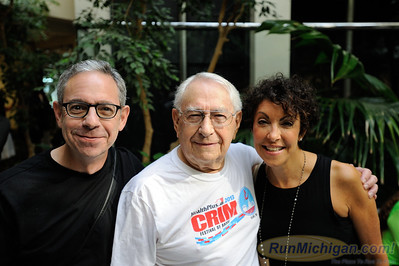 Ninety one year-old Harry Binder with family members at the 2015 HealthPlus Crim Festival of Races Pre-Race Press Event on August 19.