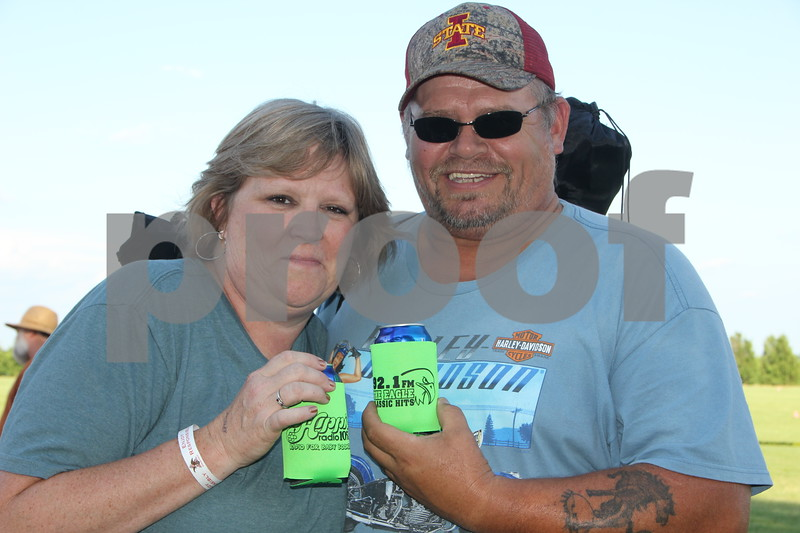 Harlan Rogers was the site of the 2015 Shellabration with the band Boston on June 26, 2015. Here ( from left to right) is Steve and Brenda Spellmeyer showing their  radio choice on their coozies.