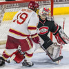 Pictured:  SCSU:  #35, Charlie Lindgren, G, 6-2, 190, SO, Lakeville, MN;  DU:  #19, Daniel Doremus, F, 6-0, 200, SR, Aspen, CO