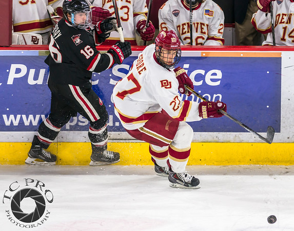Pictured:  DU:  #27, Quentin Shore, F, 6-1, 185, JR, Denver, CO;  SCSU:  #16, Jimmy Murray, F, 5-7, 165, JR, Darien, IL