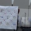 Jane Waligorski showing us a beautiful fan quilt
