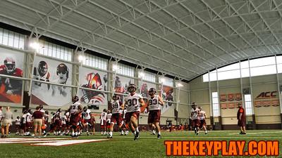 The defense practiced returning turnovers at full speed to start their training season. (Mark Umansky/TheKeyPlay.com)