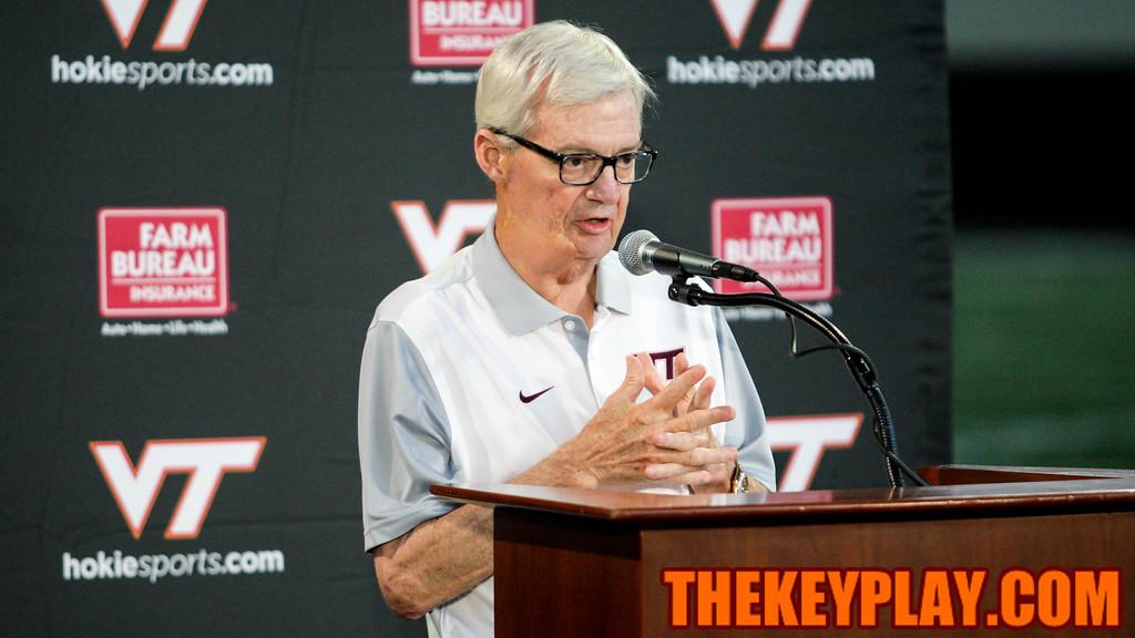 Head coach Frank Beamer kicks off Virginia Tech's 2015 Media Day. (Mark Umansky/TheKeyPlay.com)