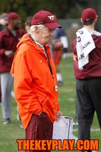 Head coach Frank Beamer looks on as the groups do their individual drills. (Mark Umansky/TheKeyPlay.com)