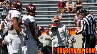 Head Coach Frank Beamer yells out instructions over the megaphone. (Mark Umansky/TheKeyPlay.com)