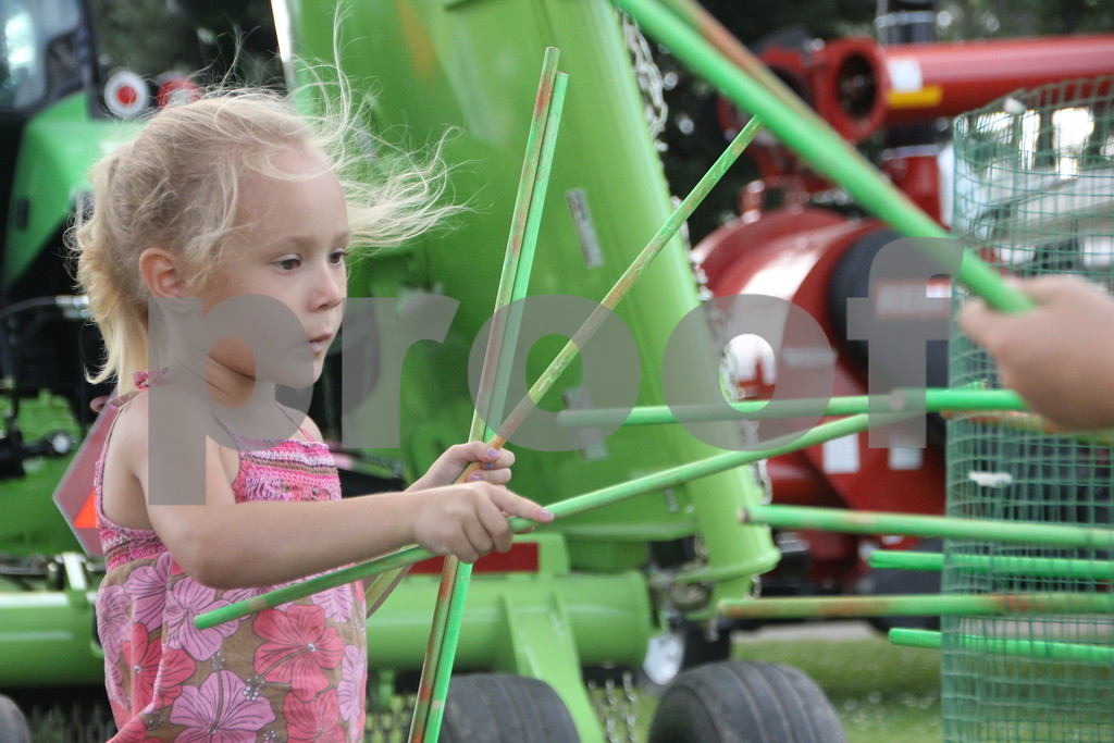 Sidney Stacy concentrates on which  stick to remove to keep the balls from dropping out of the wire  tube that makes up a large version of the game Kerplunk, at the Webster County Fair on Friday, July 10, 2015.