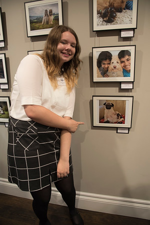 Jasmine Ottley 3rd place winner for the I Love Dogs Category (under 18s) next to her award winning photograph of Sir Sidney