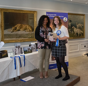 Jasmine Ottley, I Love Dogs 3rd Place Winner being presented her award by Kennel Club Member, Pauline Luxmoore-Ball