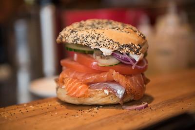 150320 Winnipeg - DAVID LIPNOWSKI / WINNIPEG FREE PRESS  Lox bagel. Sherbrook Street Delicatessen Proprietor Jon Hochman at his restaurant Friday March 20, 2015.
