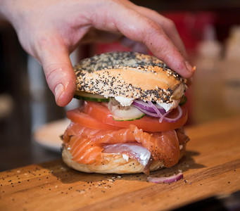 150320 Winnipeg - DAVID LIPNOWSKI / WINNIPEG FREE PRESS  Lox bagel. Sherbrook Street Delicatessen Proprietor Jon Hochman at his restaurant Friday March 20, 2015.