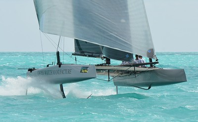 The challenge of having Maxis, Melges 32s and the new GC32s on the same course was calculating the water depth for the maxis (they needed 12') and a course length. The foiling GC32s were impressive to watch; especially as they could foil downwind and sail faster than the maxis.
