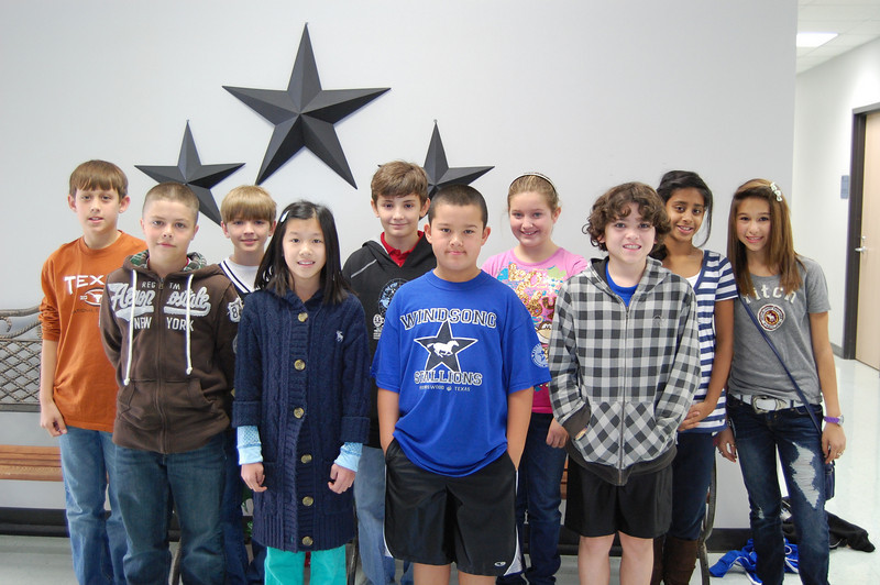 5th Grade students chosen by their teachers and peers for showing the character traits of Citizenship and Caring for the months of November and December are: Nicholas Calapan, Colby Bowers, Mason Hunnicutt, Taylor JenkinsPriya Ponia, Logan Ashenfelder, Brandon De La Fuente, Alec Perry, Julia Pham and Ashley Phares