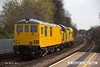 150402-013     After spending a few days on the High Marnham Test Track re-engineered electro- diesel no 73952 was returned to the RTC by class 97 no 97304 John Tiley. They are seen here passing through Mansfield Woodhouse on the Robin Hood Line, running as 0Z73, 14.00 High Marnham to Derby RTC.