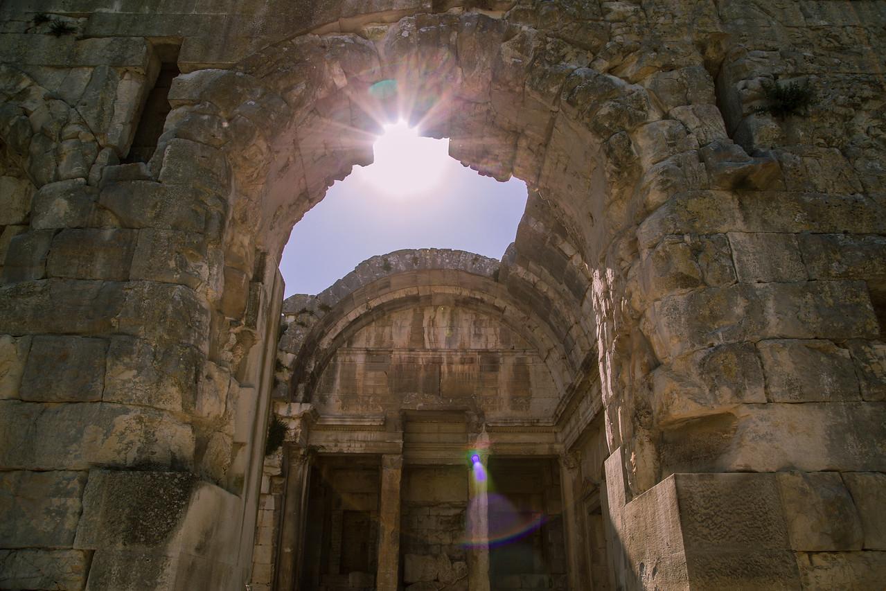 Sunlight bursts through the Temple de Diane