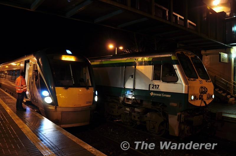 22060 and 217 at Portarlington.  Fri 23.01.15