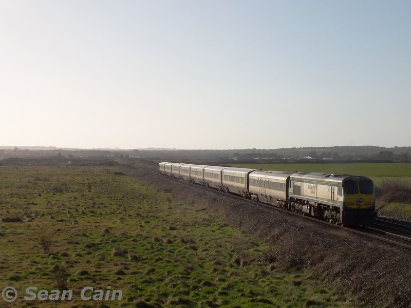227 propels set 9003 past Gormanston Airfield with the 0800 Belfast Central - Dublin Connolly. Wed 04.03.15 <br> <br> Photo courtesy of Sean Cain.