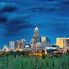 stormy weather brewing over charlotte north carolina skyline