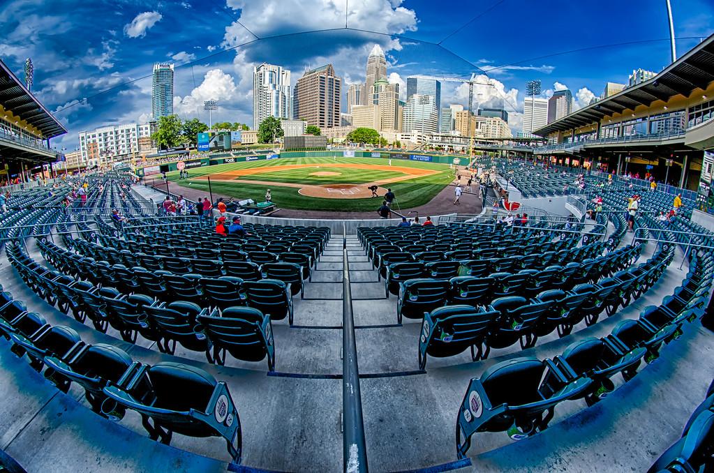 bbt baseball charlotte nc knights baseball stadium and city skyline