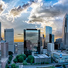 aerial view of charlotte city skyline at sunset
