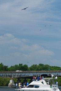 The Liberator formation turning to follow the Potomac River south from Georgetown.