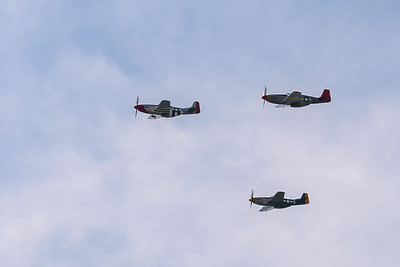 The Liberator formation included an escort of Mustangs (shown here flying west toward the Mall).
