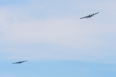 The Flying Fortress formation turning to follow the Potomac River south of Georgetown.
