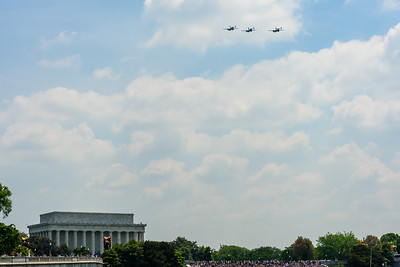 The Mitchell formation flying west toward the Mall.