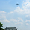 The Superfortress flying west toward the Mall.