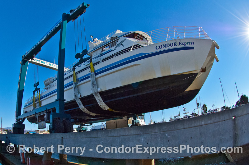Condor Express in the slings.  As our friend Debbie said, it look like the Condor is flying.