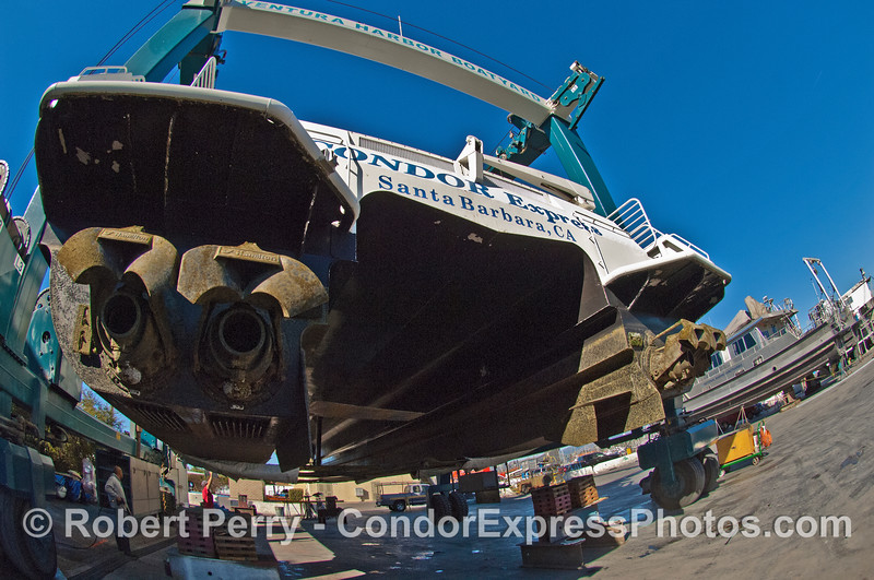 """Stern of the Condor Express - the 4 Hamilton Jets are the """"business end"""" of the mighty cat."""